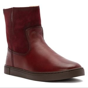 Frye Gemma Short Genuine Shearling Lined Boot red